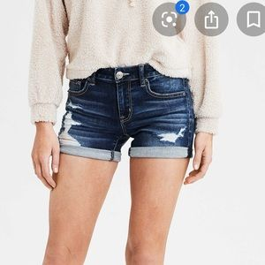 American Eagle Tomgirl Midi Shorts Destroyed